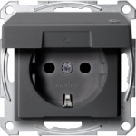 SCHUKO® socket-outlet with hinged lid, shuttered, Anthracite IP44