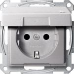 SCHUKO® socket-outlet with hinged lid, shuttered, Aluminium IP44