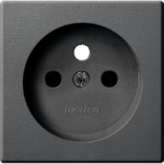 Central plate for socket-outlet insert with pin earth, Anthracite