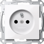 Socket-outlet insert with pin earth, shuttered, Active White