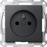 Socket-outlet insert with pin earth, shuttered, Anthracite