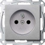 Socket-outlet insert with pin earth, shuttered, Aluminium