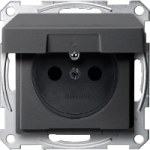 Socket-outlet insert with pin earth, shuttered, with hinged lid, Anthracite