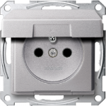 Socket-outlet insert with pin earth, shuttered, with hinged lid, Aluminium