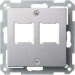 Central plate for RJ 11/RJ 45 insert, 2-gang, Aluminium
