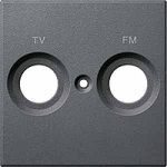 Central plate marked R/TV/SAT for antenna socket-outlet, Anthracite
