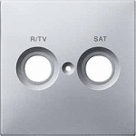 Central plate marked R/TV/SAT for antenna socket-outlet, Aluminium
