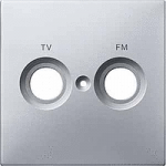 Central plate marked FM+TV for antenna socket-outlet, Aluminium