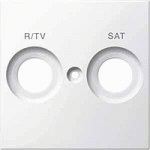 Central plate marked R/TV+SAT for antenna socket-outlet, Polar White