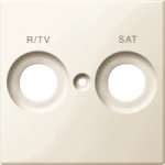 Central plate marked R/TV+SAT for antenna socket-outlet, White