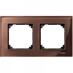 M-Elegance real glass frame, 2-gang, Machogany brown