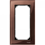 M-Elegance real glass frame, 2-gang, without central bridge piece, Machogany brown