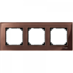 M-Elegance real glass frame, 3-gang, Machogany brown