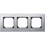 M-Elegance metal frame, 3-gang, Platinum silver