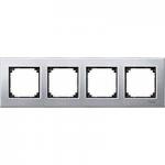 M-Elegance metal frame, 4-gang, Platinum silver