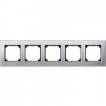 M-Elegance metal frame, 5-gang, Platinum silver