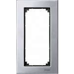 M-Elegance metal frame, 2-gang, without central bridge piece, Platinum silver