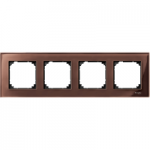M-Elegance real glass frame, 4-gang, Machogany brown