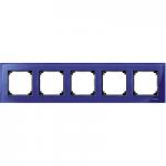 M-Elegance real glass frame, 5-gang, Sapphire blue