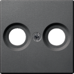 Central plate for antenna socket-outlets 2 holes, Anthracite