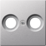 Central plate for antenna socket-outlets 2 holes, Aluminium
