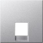 Central plate for telephone socket-outlet insert RJ11/RJ12, Aluminium