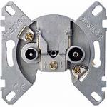 Antenna end of line socket-outlet insert, 2 outputs R/TV+SAT