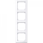 M-Smart frame, 4-gang with labelling bracket, vertical installation, Active White, glossy
