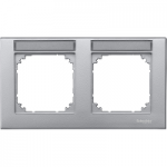 M-Plan frame, 2-gang with labelling option, horizontal installation, Aluminium