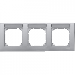M-Plan frame, 3-gang with labelling option, horizontal installation, Aluminium