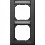 M-Plan frame, 2-gang with labelling option, vertical installation, Anthracite