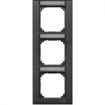 M-Plan frame, 3-gang for labelling, vertical installation, Anthracite