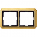 Antique frame, 2-gang, Polished brass