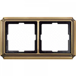 Antique frame, 2-gang, Antique brass