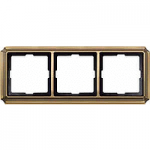 Antique frame, 3-gang, Antique brass