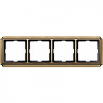 Antique frame, 4-gang, Antique brass