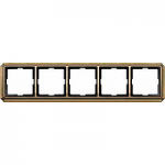 Antique frame, 5-gang, Antique brass