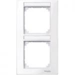 M-Plan frame, 2-gang with labelling option, vertical installation, Active White
