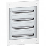 Flush enclosure, Titanium white/Metal grey, 4 x 24