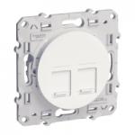 RJ45 data socket, center plate + fixing frame, double, White