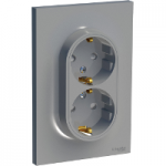 Socket-outlet 16 A 2P + E double, shuttered, White