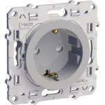 Socket-outlet 16 A 2P + E, shuttered, Aluminium