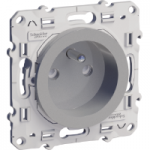 French socket-outlet 16 A 2P + E, shuttered, Aluminium