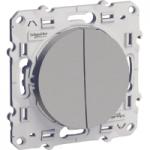Switch + push-button 10 AX (NO/NC), Aluminium