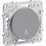 "Lightable Push-button 10 AX with ""light"" symbol, Aluminium"