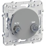 R-TV/SAT socket, passage, Aluminium