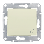 1-way Push-button IP44 10 A - 250 V AC, with bell symbol, Beige