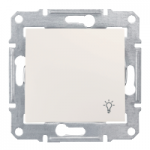 1-way Push-button IP44 10 A - 250 V AC with light symbol, Cream