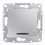 2-way Switch 16 AX - 250 V AC with blue indicator  lamp, Aluminium
