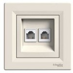Double Data and telephone outlet RJ11, Cream